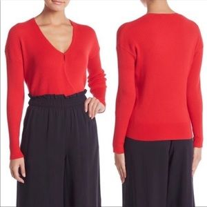 Elodie Ribbed Wrap Sweater Red Size XS